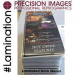 Did you know we print menus? Did you know we can laminate just about any size? It's true! Tell us your needs and we will make it happen! #Lamination #menuprinting #PrecisionImages  #ColorPrinting #PortlandPrinting #PortlandBiz