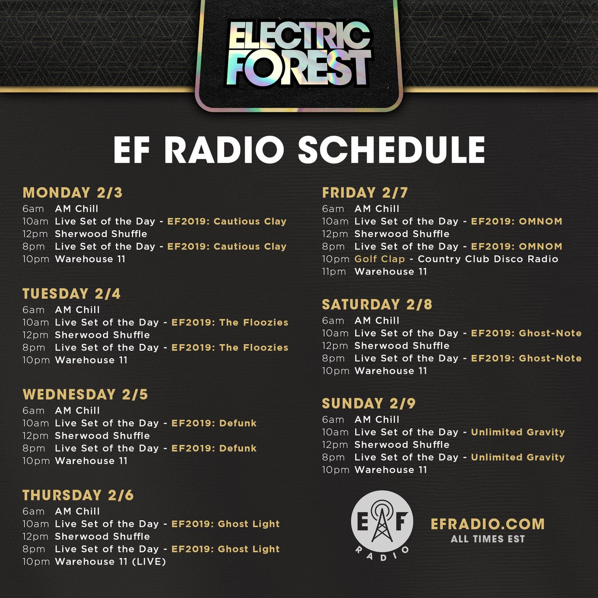 This week on @EForestRadio!   Tune in and hear #EF2019 Sets from @imOMNOM, @CautiousClayton, @TheFlooziesDuo, @GhostLightBand, @GNote_Official and others, plus daily broadcasts of the Sherwood Shuffle and more...   Hear it 24/7/365 at http://EFRadio.com !pic.twitter.com/vuBFfbrRDa