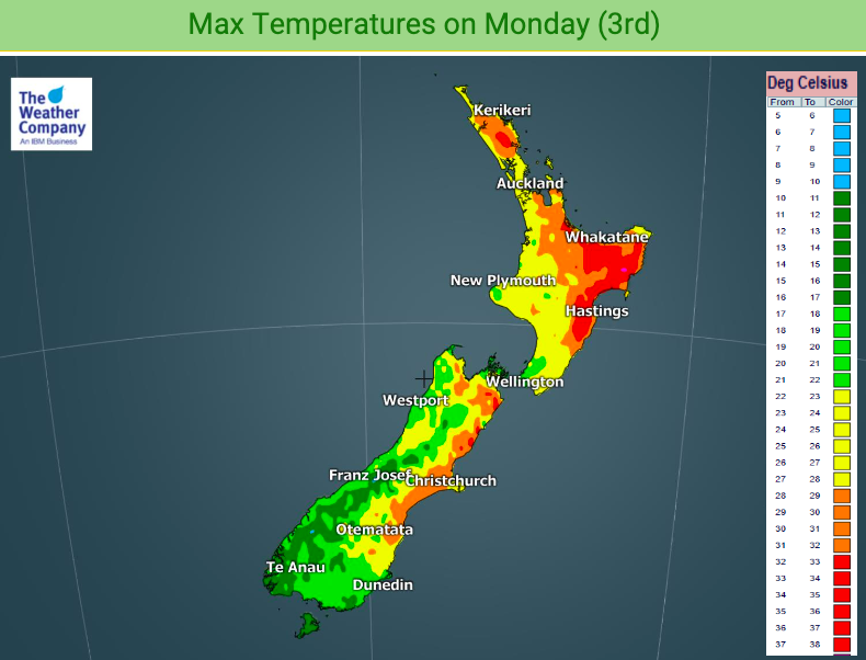 Just had further confirmation of the 40 degree temperature reached inland west of #Gisborne yesterday.  This data map from @ibmnz shows Monday's daytime highs in all our valleys & main centres - the small pink dot at Te Karaka near Gisborne represents 40C!  #Weather #NewZealandpic.twitter.com/VWcTz4aayI