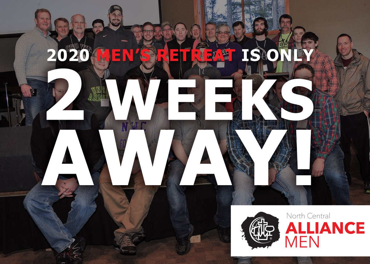 Two weeks from Friday, we will be starting our Men's Retreat weekend. If you haven't registered yet, there's still room!  -> http://northcentralalliancemen.org/event/mens-retreat/ …   @cmalliance @NCD_of_The_CMA #NCalliancemen #alliancemen #mensretreat #NCmensRetreatpic.twitter.com/erZSnynPfB