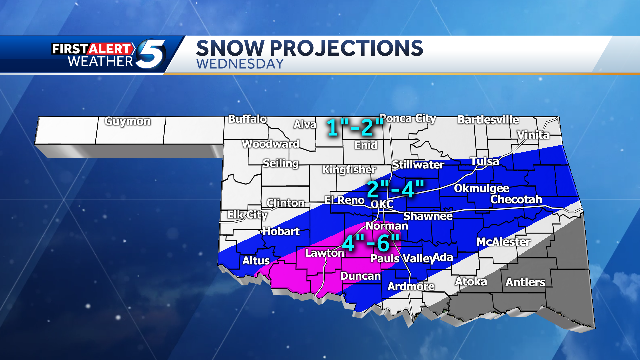 """Snow Projections: Latest data shows a band of heavy snow moving from SW Oklahoma to OKC to Tulsa. Temperatures will be in the mid 20s and this will likely be an all snow event with hardly any ice. There will be a few areas in the pink region that will likely see more than 6"""" snow"""