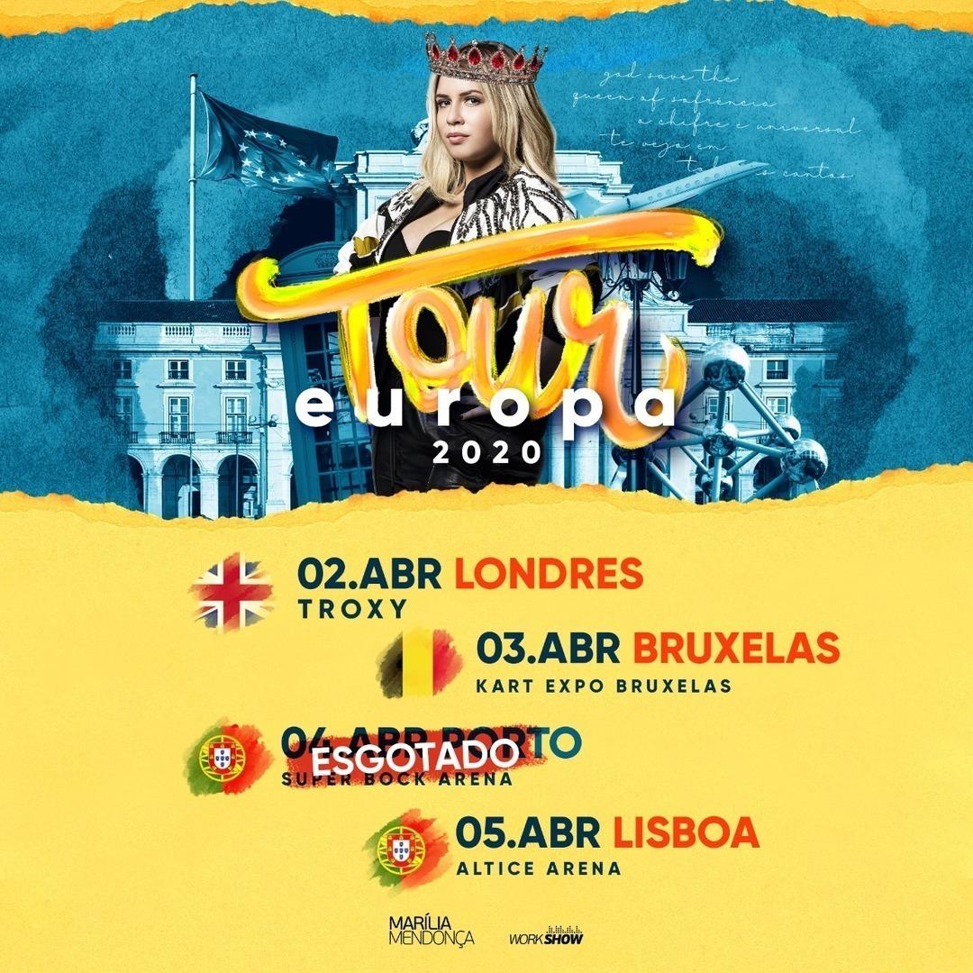 Europa, vocês estão preparados pra bastante sofrência? Nossa rainha @mariliamendoncacantora desembarca com um showzão pra vocês!!   #mariliamendonca #mariliamendonça #workshow #workshownordeste #brasil #europa #londres #bruxelas #lisboa #europapic.twitter.com/A1eA7S5D97