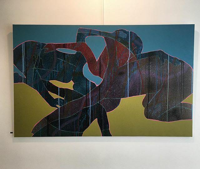 """""""The circle"""" hanging at @albarehartgallery in Bahrain.  The show is on view until the 10th of February.  #art #leipzig #beirut #beirutart #leipzigart #lebanonart #performanceart #videoart #painting #modernart #contemporaryart #berlin #berlinkunst #berlin… https://ift.tt/36SZBpxpic.twitter.com/tUUVsyXVqH"""