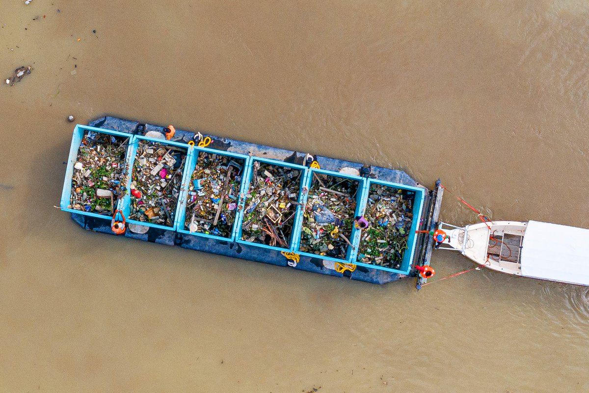 Recently, our Interceptor in the river Klang, Malaysia has been collecting one barge full of trash every ~3 days