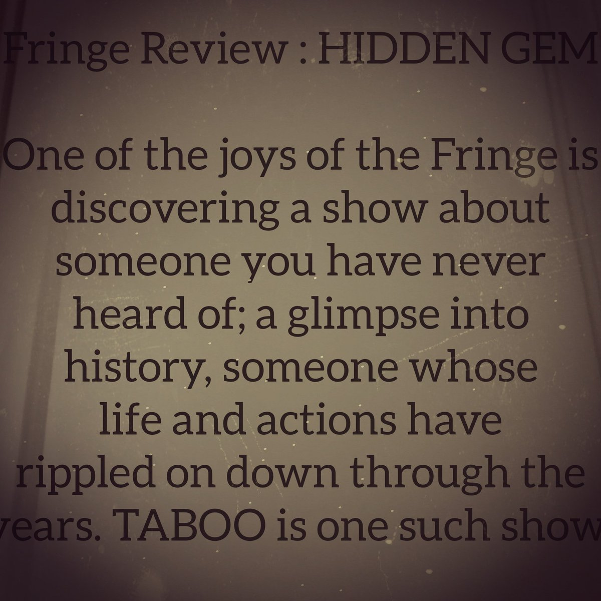 Quote from Edfringe review 2019 by Kate Saffin. 🌻 #adelaideFringe #AnnaThomas #treasury1860 https://t.co/hOGBYvEDEA