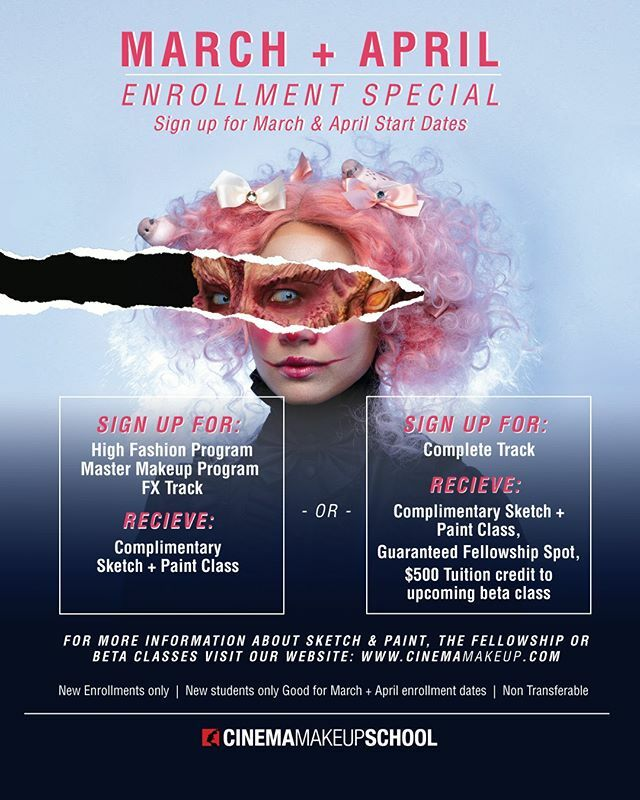 🚨 Enrollment Special 🚨 For a limited time only, Cinema Makeup School will be offering a complimentary Sketch + Paint Course for any new students enrolling in the following programs: ⁣ ⁣ - High Fashion⁣ - Master Makeup ⁣ - FX Track⁣ - Complete Tra… https://t.co/NNEeAvsbX0 https://t.co/edpRvsuMKI