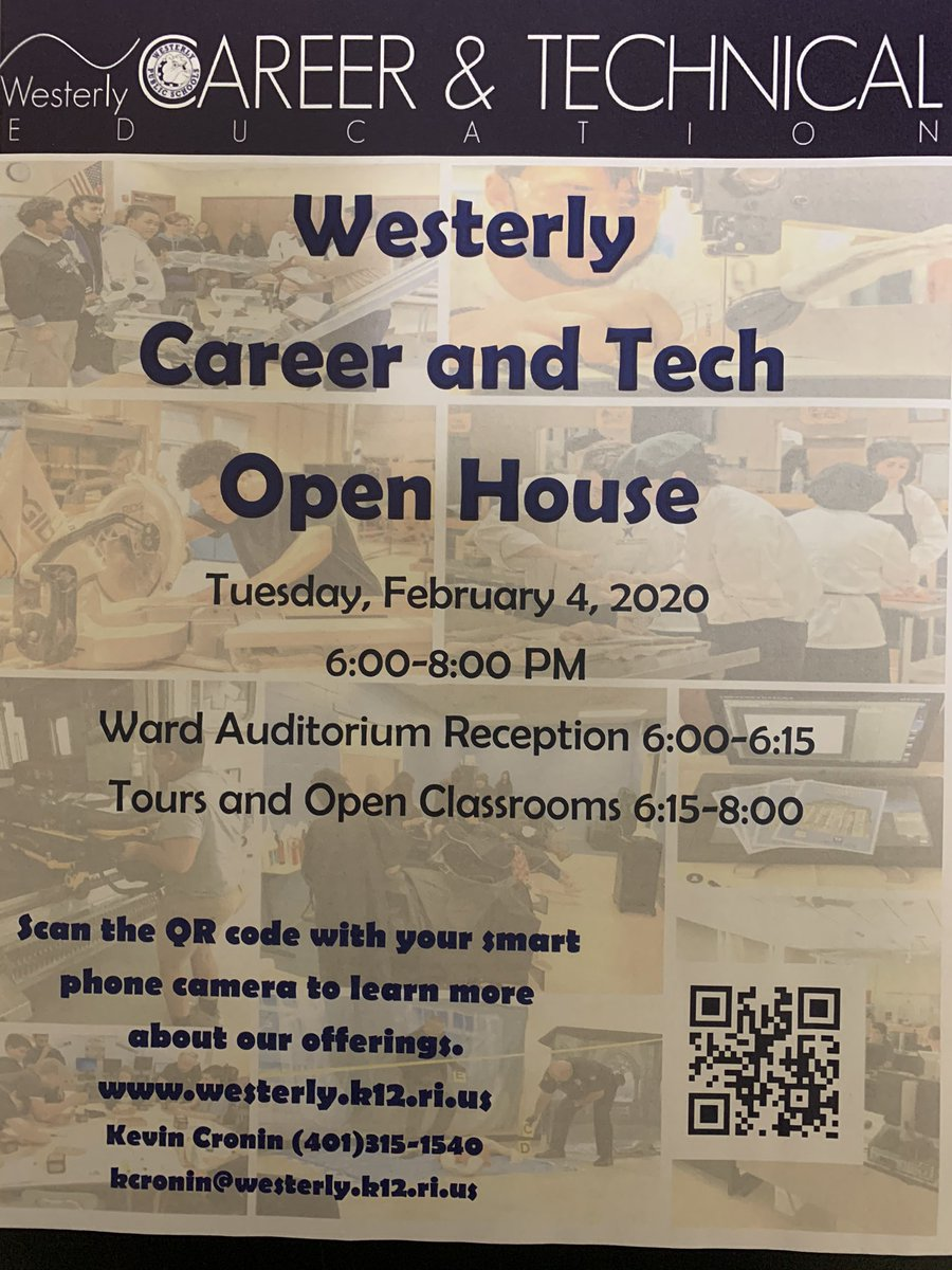 Reminding everyone about our #WHSCTE Open House tomorrow evening! Visit us for a little bit or for a while and see some reasons why it's #GreattobeaBulldog! @WesterlySuper @StoreyAlicia @whs_bulldog @WPSBulldogs @WMSRIPrincipal @Westerly_High https://t.co/HjNpmkfoSL