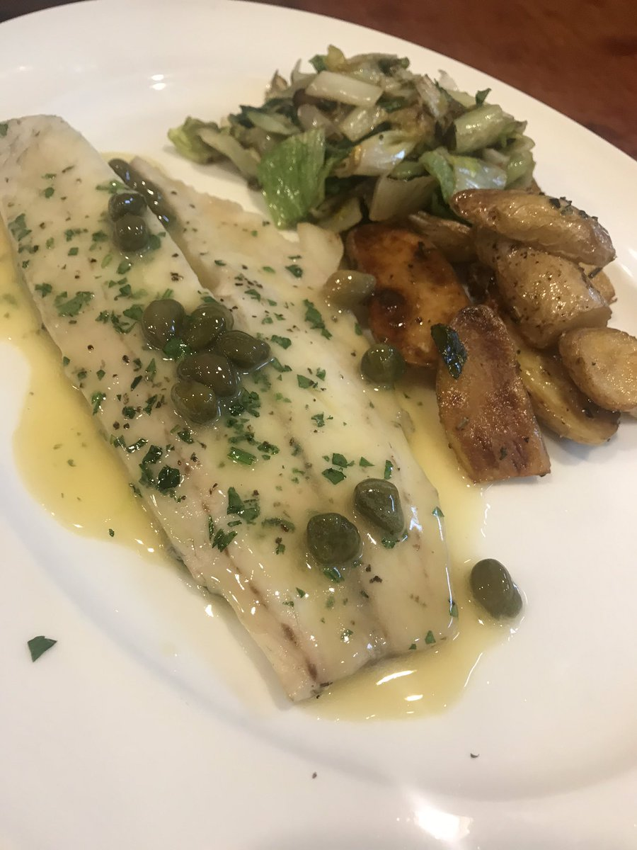 Who votes YES to adding this lunch special to the regular menu?! Branzino filet with escarole and roasted fingerling potatoes 🤤