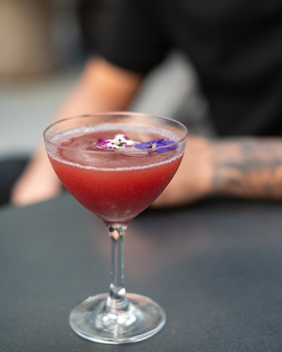 In the mood for love. Introducing cocktail of the month-French Kiss from #NobuMiami • Fords Gin infused Hibiscus Tea, Lemon Juice, Monk Fruit Syrup, Supercassis La Creme De Cassis & Strawberry Puree. #Nobucocktails #Nobumiamicocktails Crafted by Cristian Ramos.