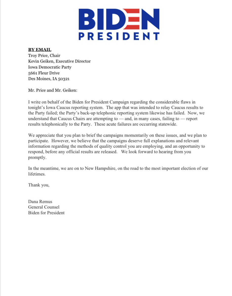Here's Biden's letter to the Iowa Democratic Party