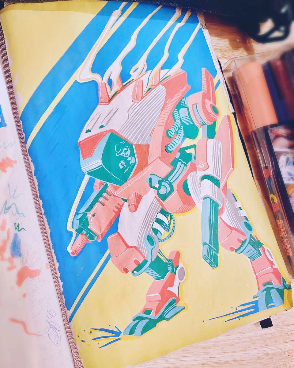 Finally noodled away at this and finished it last night! This was a #mech sketch from the #Inktober2019 I never got round to, now here it is in its multi-coloured #posca glory! I love these pens from @uniball_uk way too much.. I might have to buy some more pic.twitter.com/Js5dBVpJBd