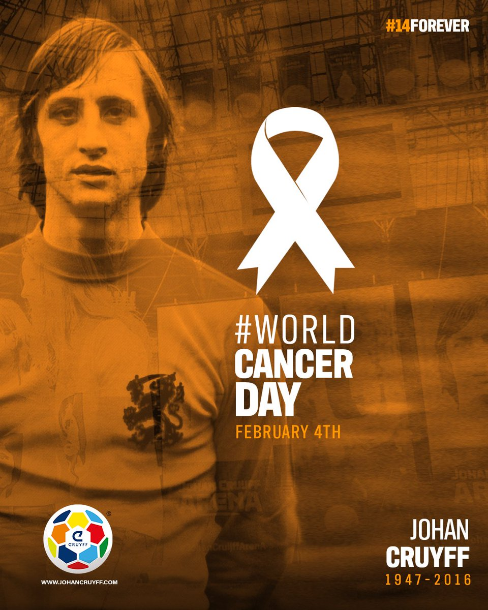 February 4th, a day to remember Johan and raise awareness about cancer. 🎗 ⠀ #WorldCancerDay #14forever #CruyffLegacy