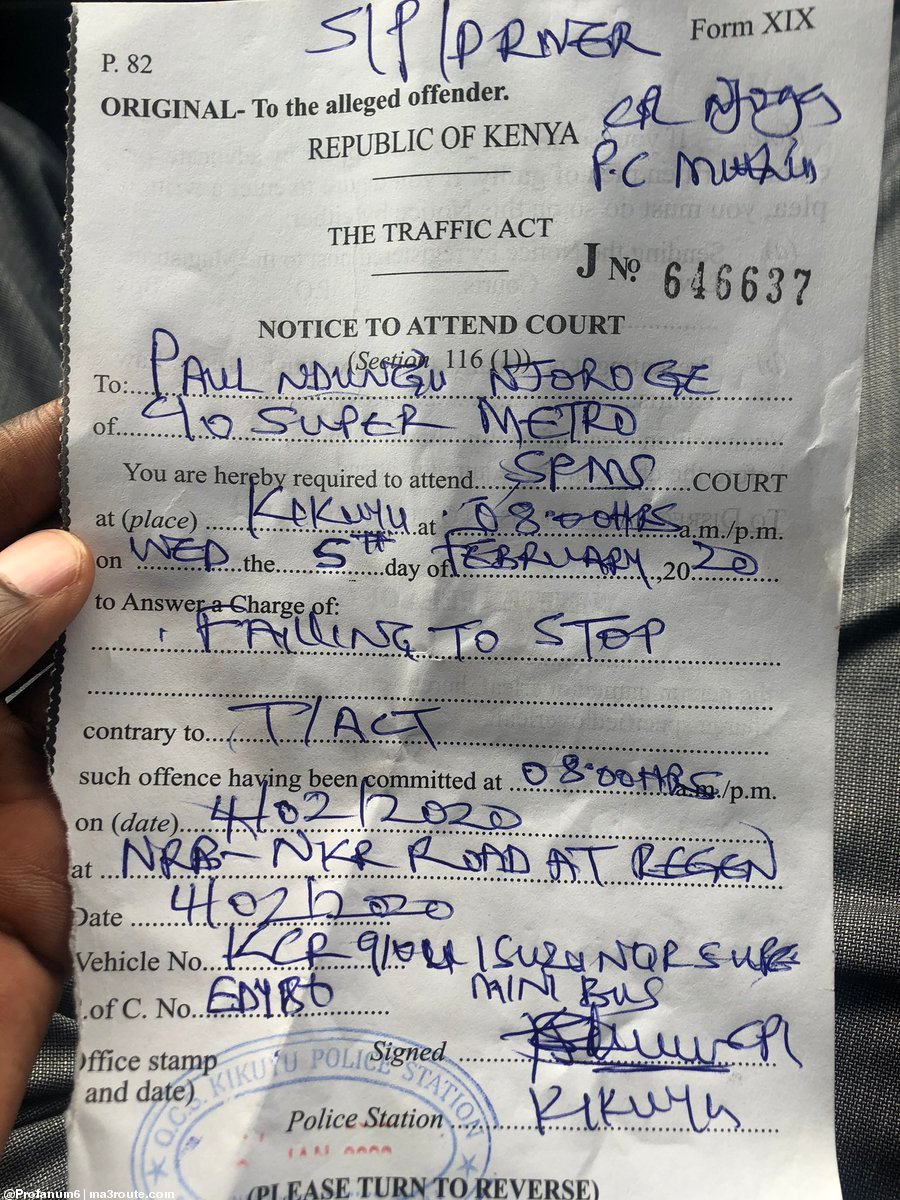 08:34 So an officer gives this to a matatu driver this morning because the driver refused to give a 100 shillings bribe (toll fees) at Regen junction on Waiyaki way (their collection spot) these guys need to https://t.co/iEac6iMJ77 https://t.co/dkYdKuxFDC via @Profanum6