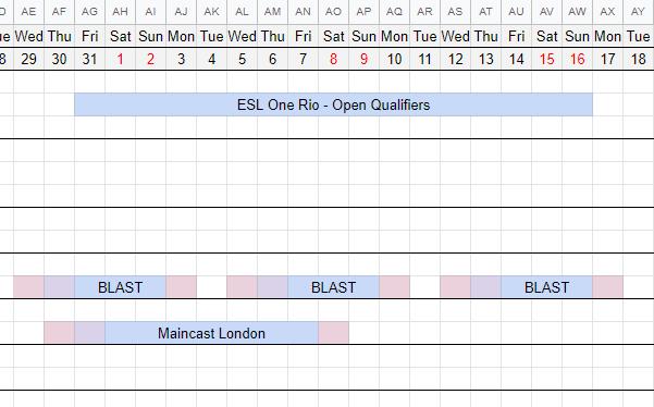 ESL qualifier schedule