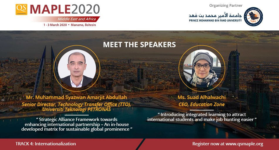 We welcome Mr Muhammad Syazwan Amarjit  Abdullah, Senior Director @UTPofficial, and  @salhal1, CEO  @AskEzone , as #qsmaple2020  speakers !  Join our eminent speakers in #Bahrain, next month!  Learn more & reserve you seat before registration closes: http://bit.ly/qsmaple2020 pic.twitter.com/iZjfPgrwTG