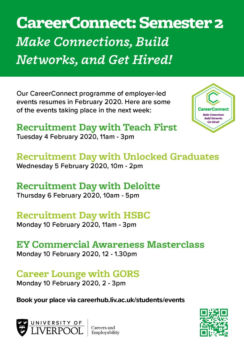 Our #CareerConnect programme of employer led #careers events for @livuni students launches today. Heres whats on in the next 7 days, check out #CareerHub for more details, to book, and to see the full programme for Feb-March: bit.ly/LivUniCareerCo…