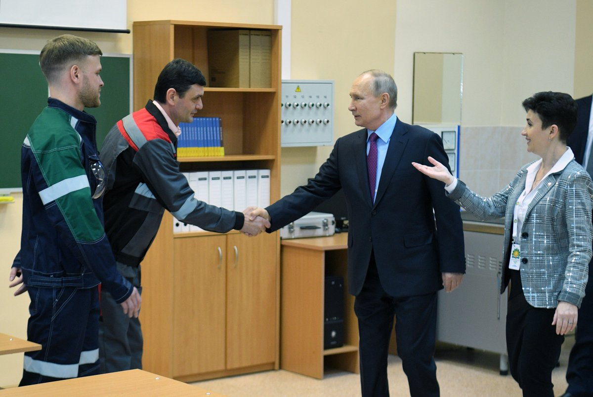 #Cherepovets: The President visited the local Chemical-Engineering College and held discussions with the public on personnel training https://bit.ly/2ukG2Jr pic.twitter.com/klxPlNEGJm