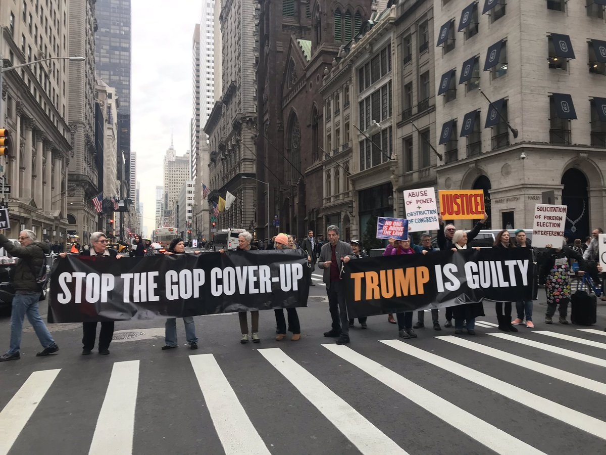 Protesting NOW outside Trump Tower in NYC on #SOTUday. #TrumpIsGuilty #guilty #CoverUp