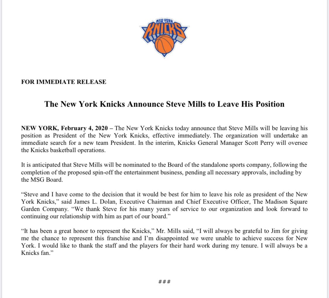 The Knicks' statement on Steve Mills' exit ...