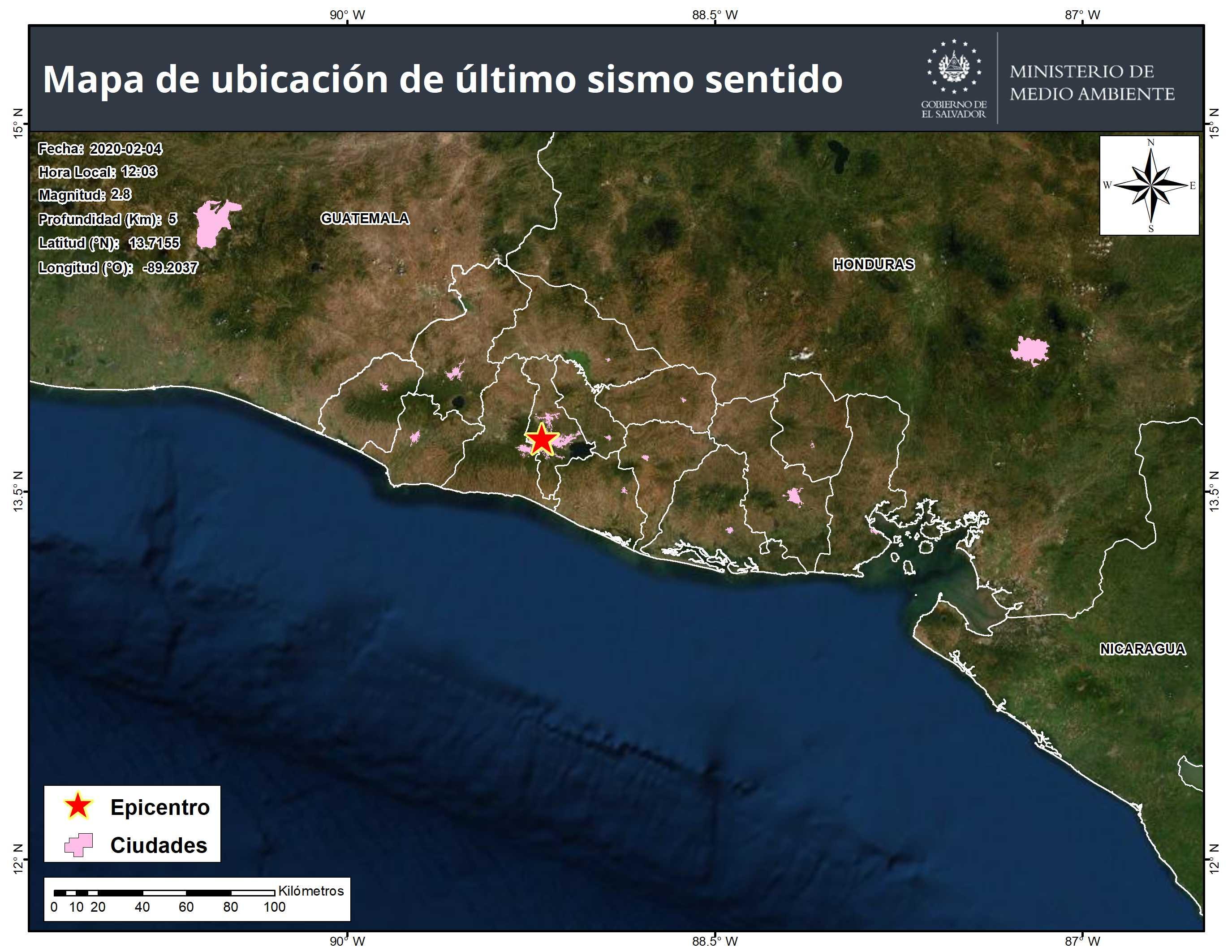 Zona norponiente de San Salvador sin sismos en últimas 24 horas