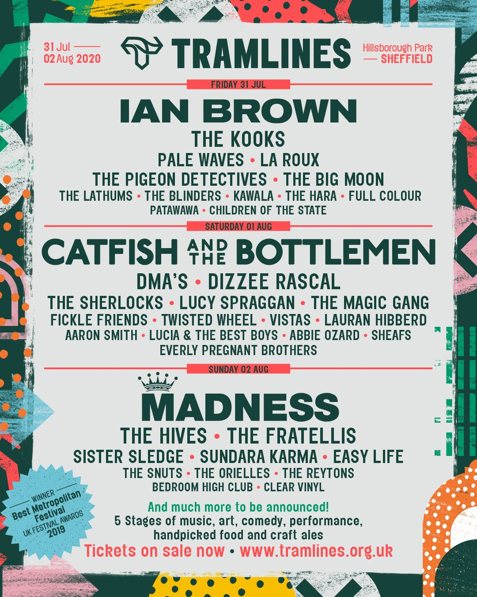LIKE AND RETWEET FOR THE CHANCE TO WIN 6 VIP WEEKEND TICKETS AND A £200 BAR TAB 🔥  Your #Tramlines2020 Line Up has arrived! Ian Brown, Catfish and the Bottlemen, Madness + many more! 🙌  Day Tickets and Final Weekend Tickets on sale now