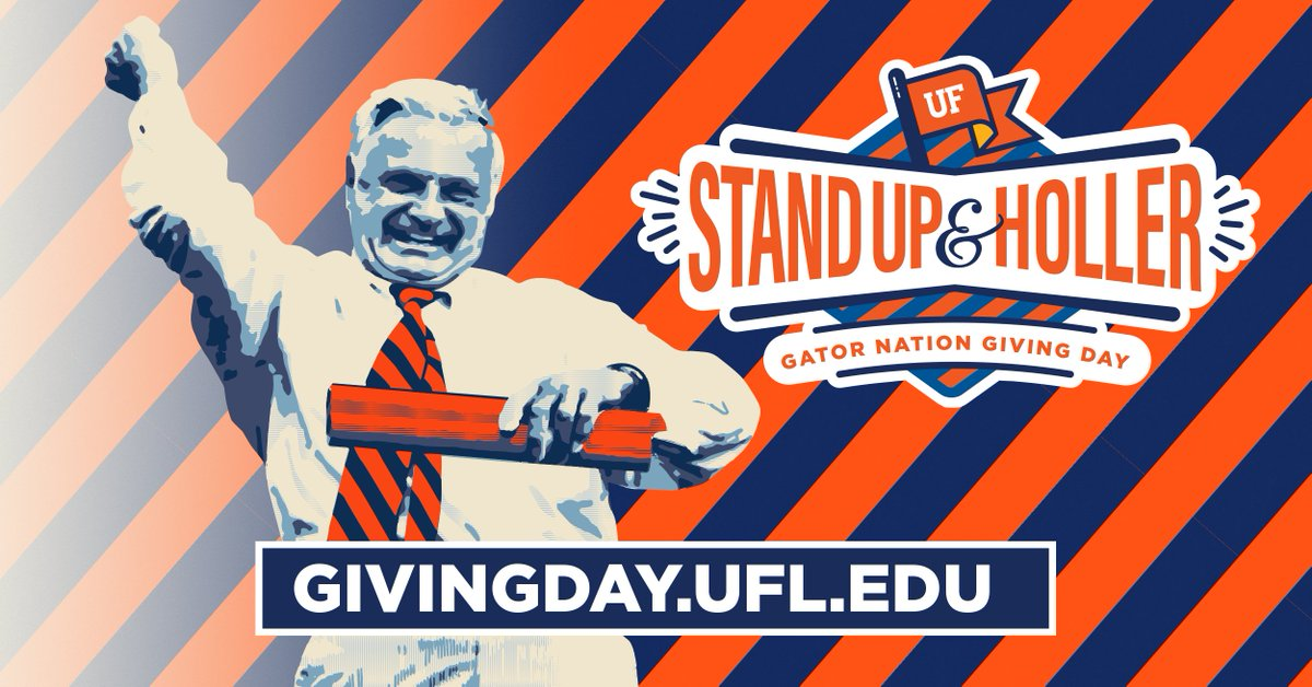 On Feb 20, 2020, were calling on those who are #AllForTheGators to become Game Changers by participating in Gator Nation Giving Day. Every donation supports @UFs far-reaching work and our drive to the Top 5 of public universities. Every bit counts, so STAND UP & HOLLER!