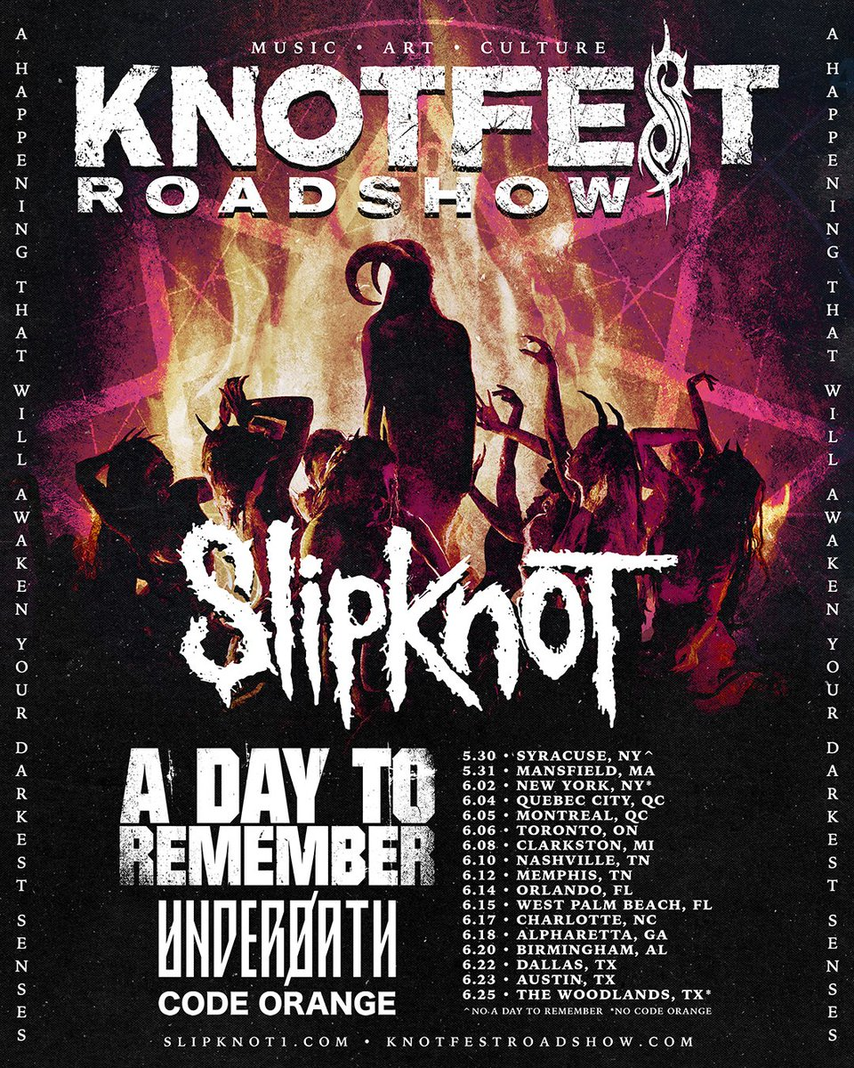 #KNOTFESTRoadshow returns to North America May 30 - June 25, 2020 featuring Slipknot, A Day To Remember, Underoath and Code Orange. OT9 Fan Club pre-sales start today at 12pm. Tickets & VIP Packages on-sale this Friday, February 7 at 10am here: knotfestroadshow.com