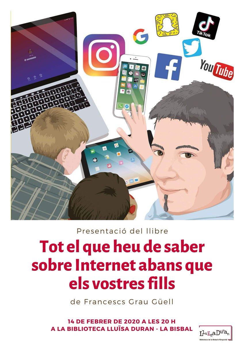 """Pares i mares de La Bisbal i del Baix Empordà,  vull invitar-vos a la presentació d """"#TotElQueHeuDeSaber sobre Internet abans q els vostres fills"""" d'@Eumo_Editorial   aquest📆divendres 14 a les 20h a la Biblioteca Lluïsa Duran de la Bisbal d'Empordà @BiblioBisbal  Us hi espero!😃"""