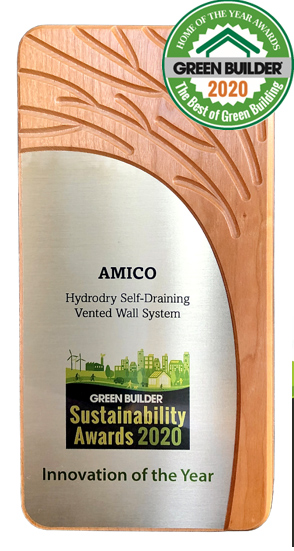 """#AMICO #HYDRODRY®, a self-draining vented wall system was awarded the 2020 #GreenInnovationOTheYear🌳"""" by #GreenBuilderMagazine. The prestigious award was given as part of #GreenBuilder's """"Home of the Year🏠& Sustainability Awards"""" program♻️. ➡️ https://t.co/OFZeP1TUeb https://t.co/FFs60WxJc2"""