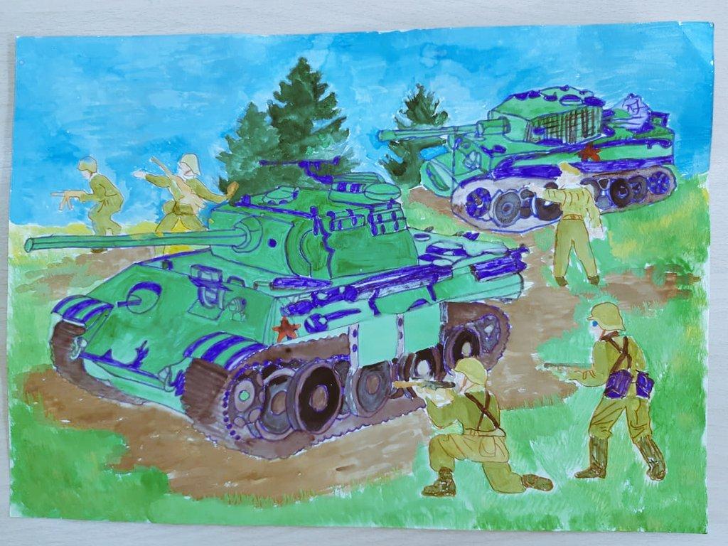 Рисунки к стихотворению рассказ танкиста твардовский знаю какого