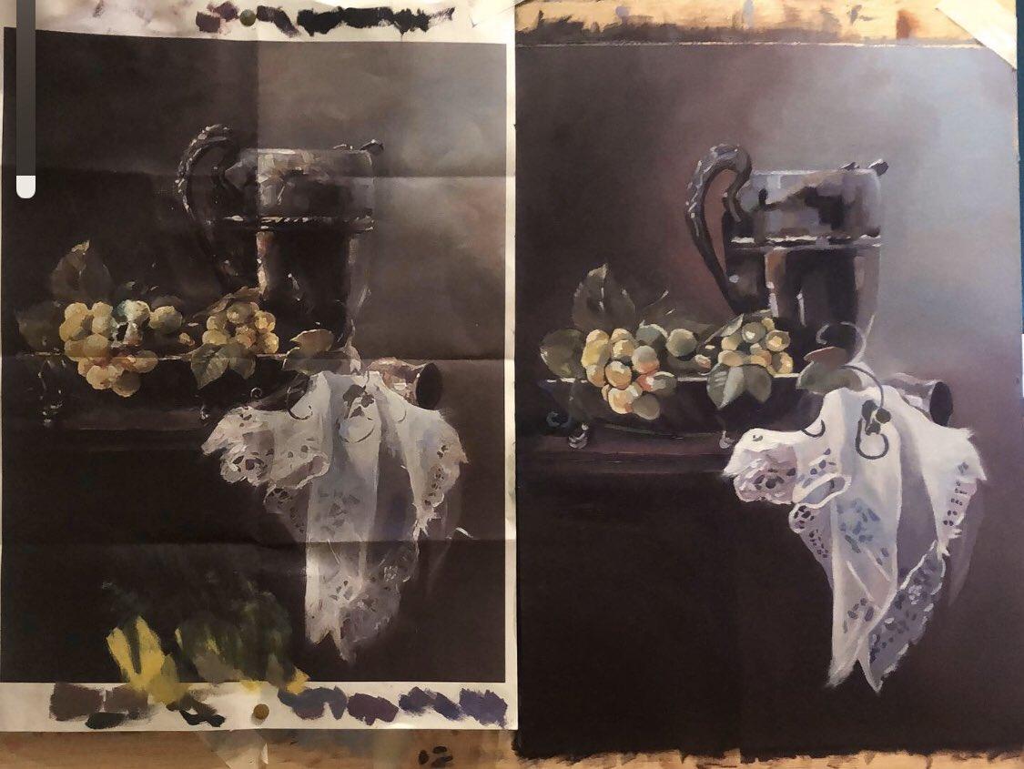 Trabajo terminado. Intento de conseguir los mismos tonos que el motivo. Retwittea si te gusta.  #art #arte #artista #arterealista #artgallery #oleo #oilpainting #pinturarealista #pinturaoleopic.twitter.com/qd7HbQ6hYG