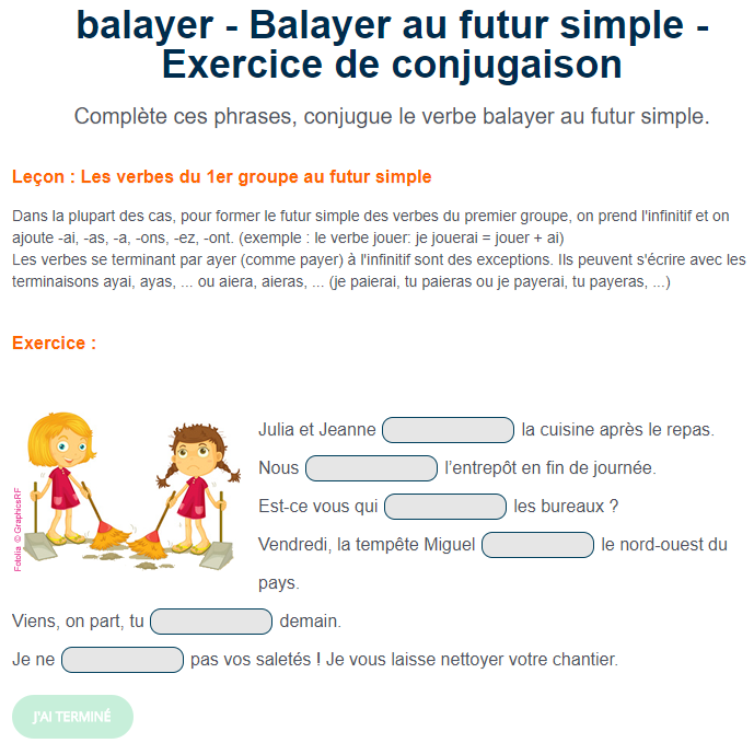 "Ortholud.com on Twitter: ""Exercice de conjugaison : Balayer au futur simple.  Complète ces phrases, conjugue le verbe balayer au futur simple.  https://t.co/12cAZXo8FK… https://t.co/8XyLqWzBnU"""