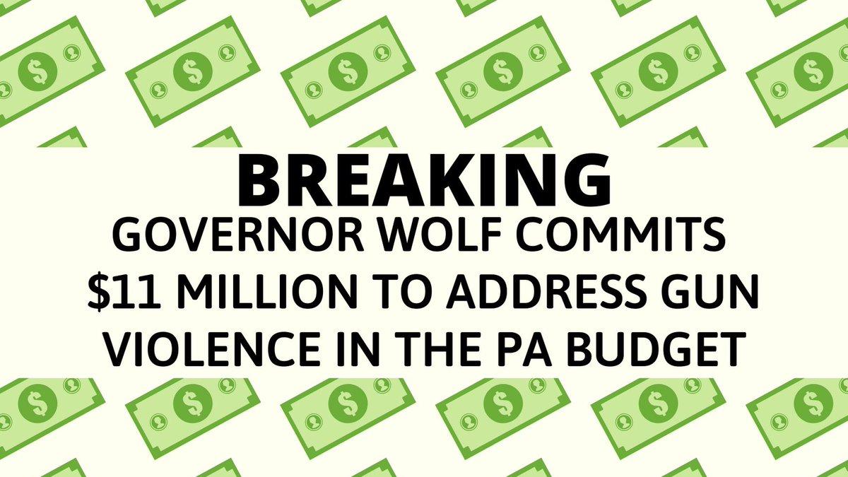 BREAKING .@GovernorTomWolf announces $11 million in the #PAbudget to address gun violence.