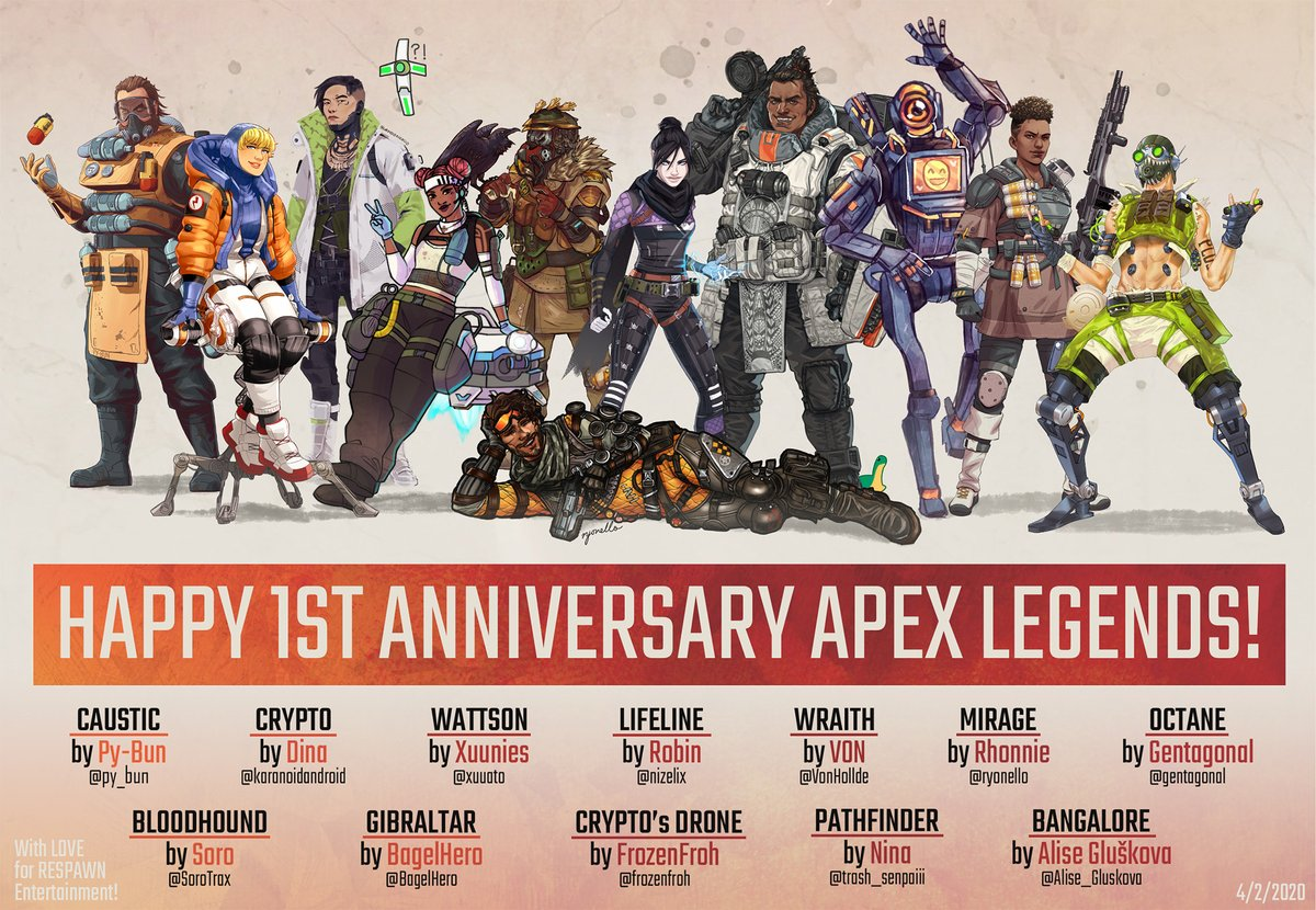 HAPPY FIRST ANNIVERSARY @PlayApex ! Thank you @Respawn for giving us Apex Legends, and with their Legends, thousand experiences, lore and friendship. This is a tribute for you made by 12 different artists, organized by yours truly. May next year be a year of success and growth!