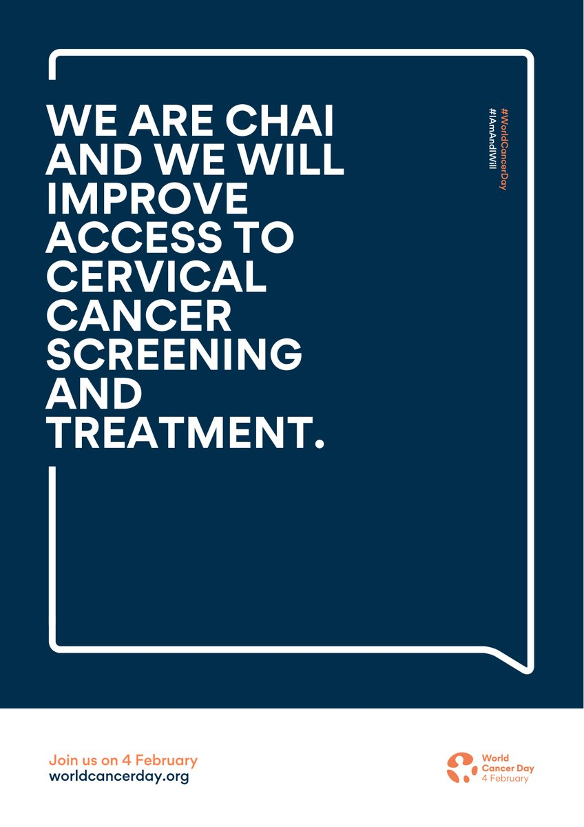 This #WorldCancerDay  and every day, CHAI remains committed to working with partners like @UNITAID  to improve access to cervical cancer screening, and treatment when necessary, across our partner countries. #IAmAndIWill  @uicc