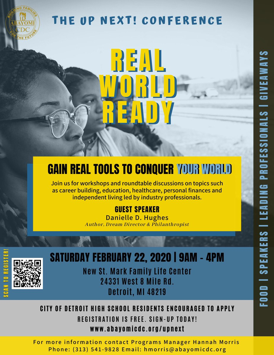 test Twitter Media - ARE YOU READY?  The Real World Ready Conference is almost here! Join us Sat. February 22nd from 9am-4pm for an awesome day full of workshops, speakers, free lunch & giveaways! All high school students are welcome to attend.  Registration is FREE ✨  #AbayomiCDC #RealWorldReady https://t.co/C6e0YzMaTv