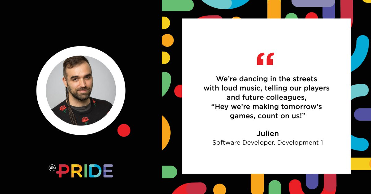 We are so proud of being named a 'Best Place to Work for #LGBTQ Equality' for 2020 by the Human Rights Campaign, but even prouder of the amazing EA PRIDE members that are part of our great company. People like Software Developer Julien. #WeAreEA #CEI2020 #HumanRightsCampaign