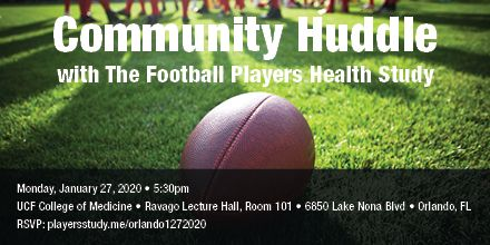 Former #NFL players: Staying in #Orlando after the #ProBowl? Join our Community Huddle on Jan. 27 - an open forum on #playerhealth, networking, discussion of our results, and Q&A. RSVP: playersstudy.me/orlando1272020
