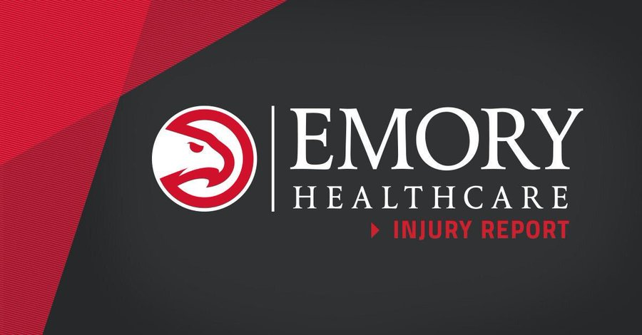An @emoryhealthcare injury report for tomorrow's game vs. the Thunder:  Charlie Brown Jr. (low back pain): Probable Alex Len (low back pain): Probable Trae Young (right thigh contusion): Questionable DeAndre' Bembry (personal reasons): Out