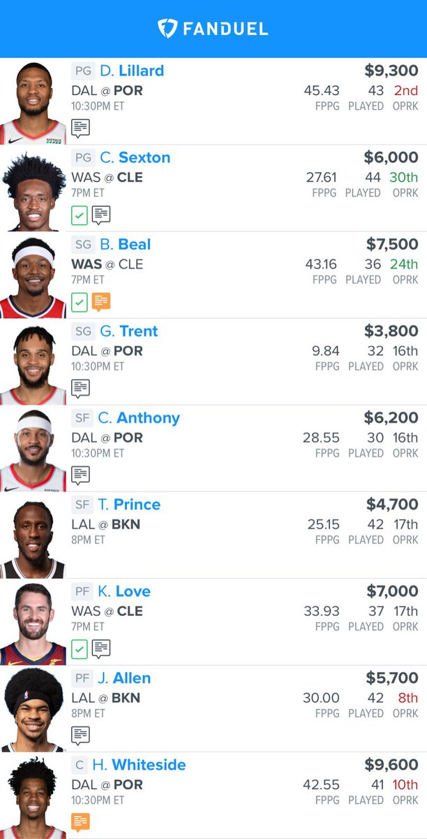 Obvious value on Dame/Beal/Dwight Playing a bit into the narrative tonight, with LBJ v Kyrie, if Boban starts at C then I think Melo has a big game against KP on the perimeter. & Dame/Luka matchup 👀💥💰🔒 #DFS #FanDuel #DraftKings     #NBA #NBATwitter #NBAFantasy  #ExpertPicks