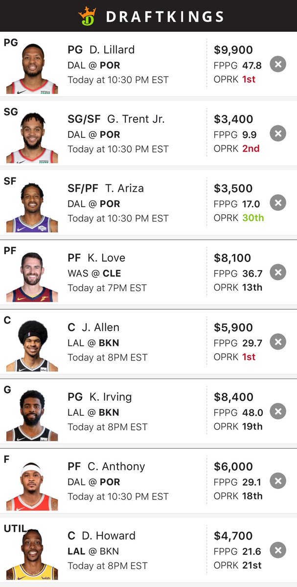 Taking my talents to back to DK. Building around Dame/Kyrie and Dwight chalk 🤷‍♂️🤦‍♂️😂 GL to all who follow 🍀💥💰 #DFS #FanDuel #DraftKings     #NBA   #NBATwitter   #NBAFantasy  #ExpertPicks #NumbersGuyDFS