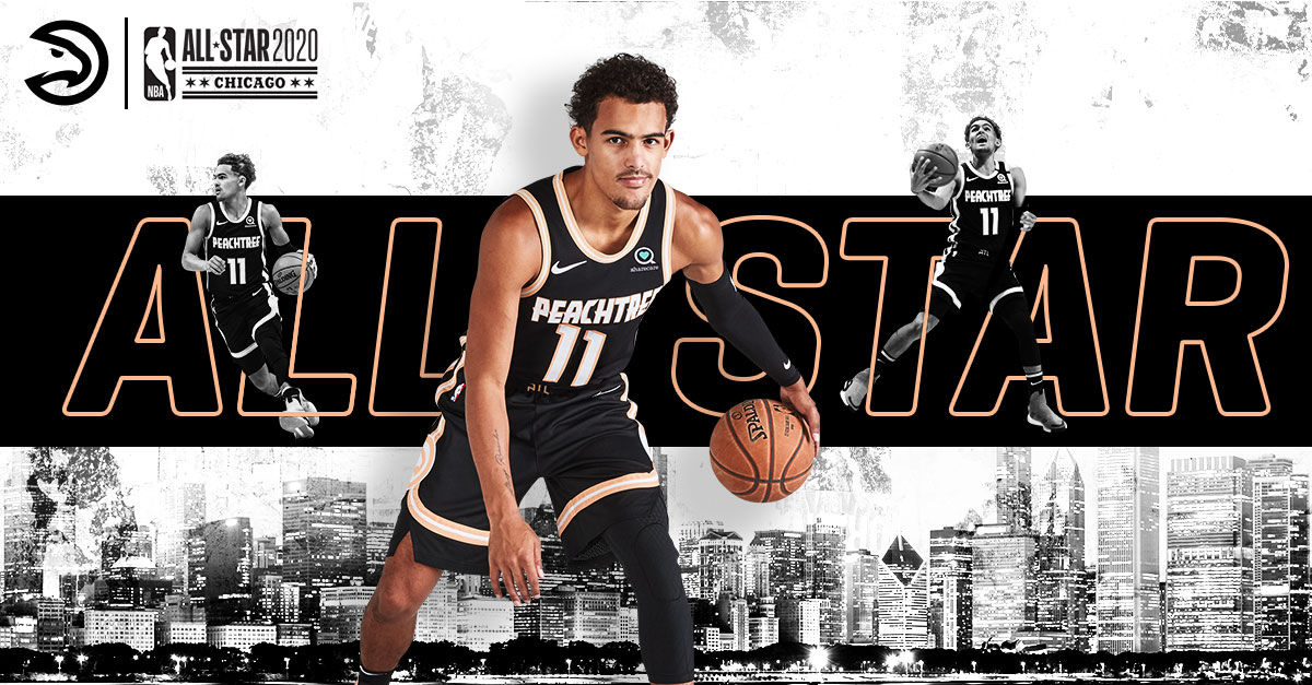 ⭐️Trae Young has been named a 𝙎𝙏𝘼𝙍𝙏𝙀𝙍 for the 2020 @NBAAllStar Game! ⭐️  Visit http://hawks.com/allstar to see him in action before we head to Chi-Town for the game!