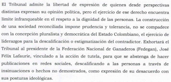 Gracias al Tribunal Superior de Bogotá José Félix Lafaurie no podrá seguir descalificando a sus opositores a través de insinuaciones o hechos no demostrados. Hace unos meses me acusó de aliado de la guerrilla.Gracias a @Dejusticia por su iniciativa #ElDerechoADefenderDerechos