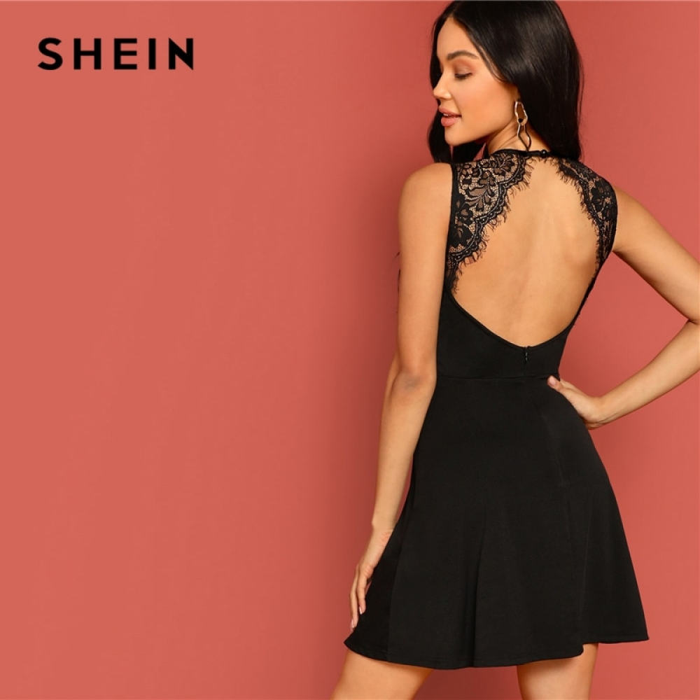 #fashionblog SHEIN Sexy Black Lace Insert Open Back Skater Fit and Flare High Waist Sleeveless Fitted Mini Dress Women Summer Solid Dresses  https:// fashiondare.com/shein-sexy-bla ck-lace-insert-open-back-skater-fit-and-flare-high-waist-sleeveless-fitted-mini-dress-women-summer-solid-dresses/  …  <br>http://pic.twitter.com/PqA7MgYWij