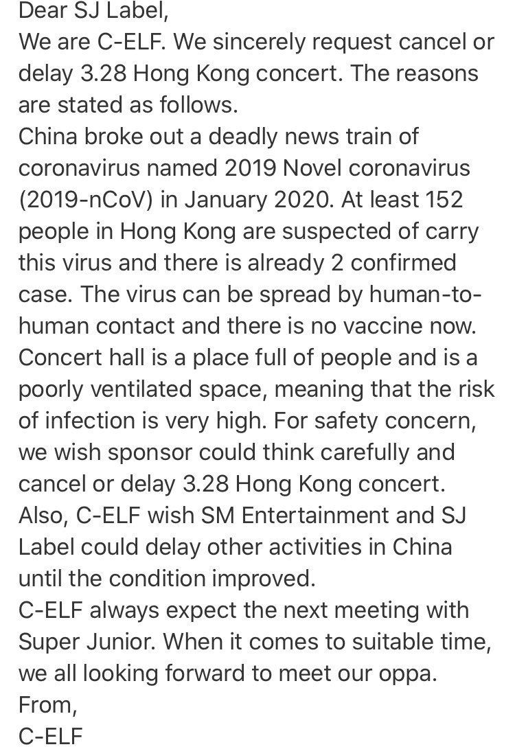ELF all around the world are asking the company to please postpone SS8 in Hong Kong after the outbreak of Corona Virus in China and surrounding areas. For the safety of members, staff, and fans, please postpone the concert.  @SJofficial    #슈주레이블_홍콩콘_취소부탁드립니다<br>http://pic.twitter.com/TLaqjXxuQE