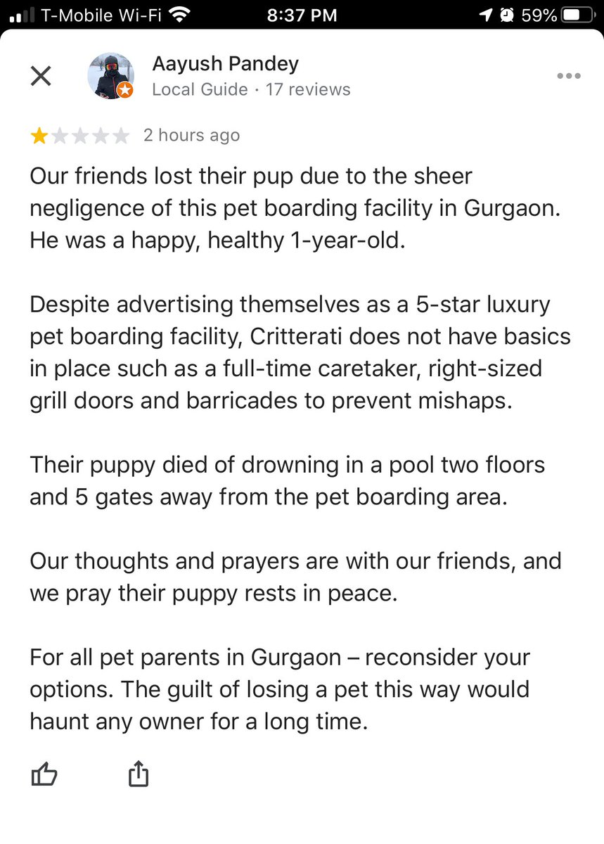 Our friends lost their pup due to sheer negligence of @critterati . Instead of taking reaponsibility, they are busy taking down reviews on Google. Absolutely disgusting! #pethotel #gurgaon #dogowners #SpreadTheWordpic.twitter.com/bpzNm7tFNq