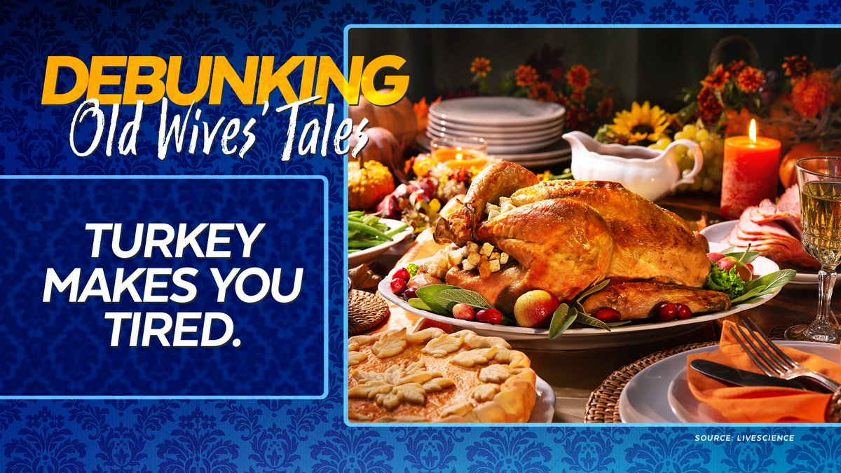 Every #Thanksgiving we blame the big bird for the big nap. While turkey does have an amino acid that can make you tired, so too do other foods, and they dont put you to sleep. Experts say you should really blame the holiday booze and carbs. #WivesTalesDebunked