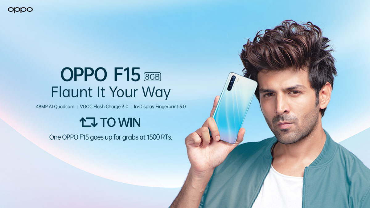 Retweet🔁and win! At 1500 RTs, one lucky winner will get the sleek and stunning #OPPOF15, equipped with 48MP AI Ultra-Wide Quadcam and super-fast VOOC 3.0 Flash Charge⚡. Get your hands on it and #FlauntItYourWay. T&C: http://bit.ly/2Gj76eD