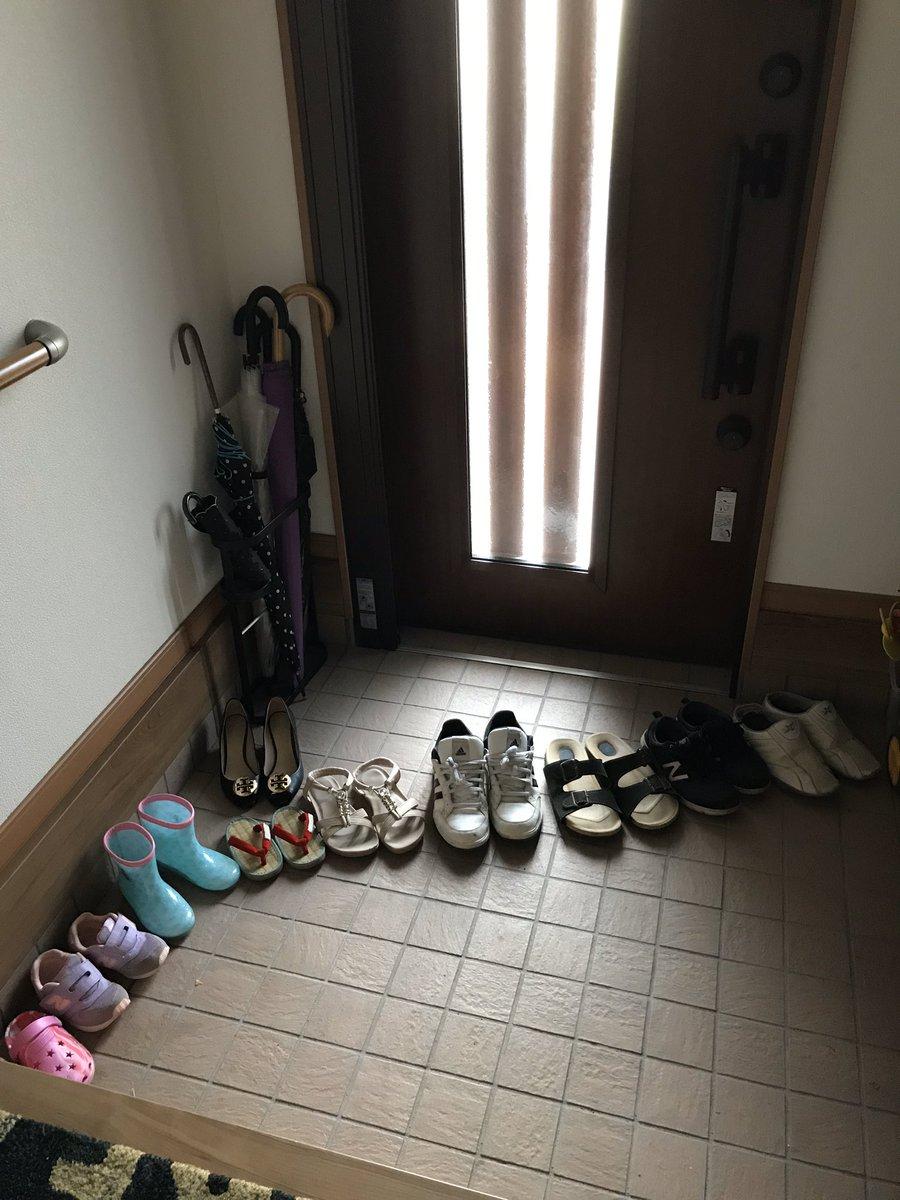 ある意味衝撃だった。娘4歳『ママ〜、靴揃えといたよー』と見に行くとほんとにキレイに並んでる✨でも何故かカーブしとる。 #育児衝撃画像