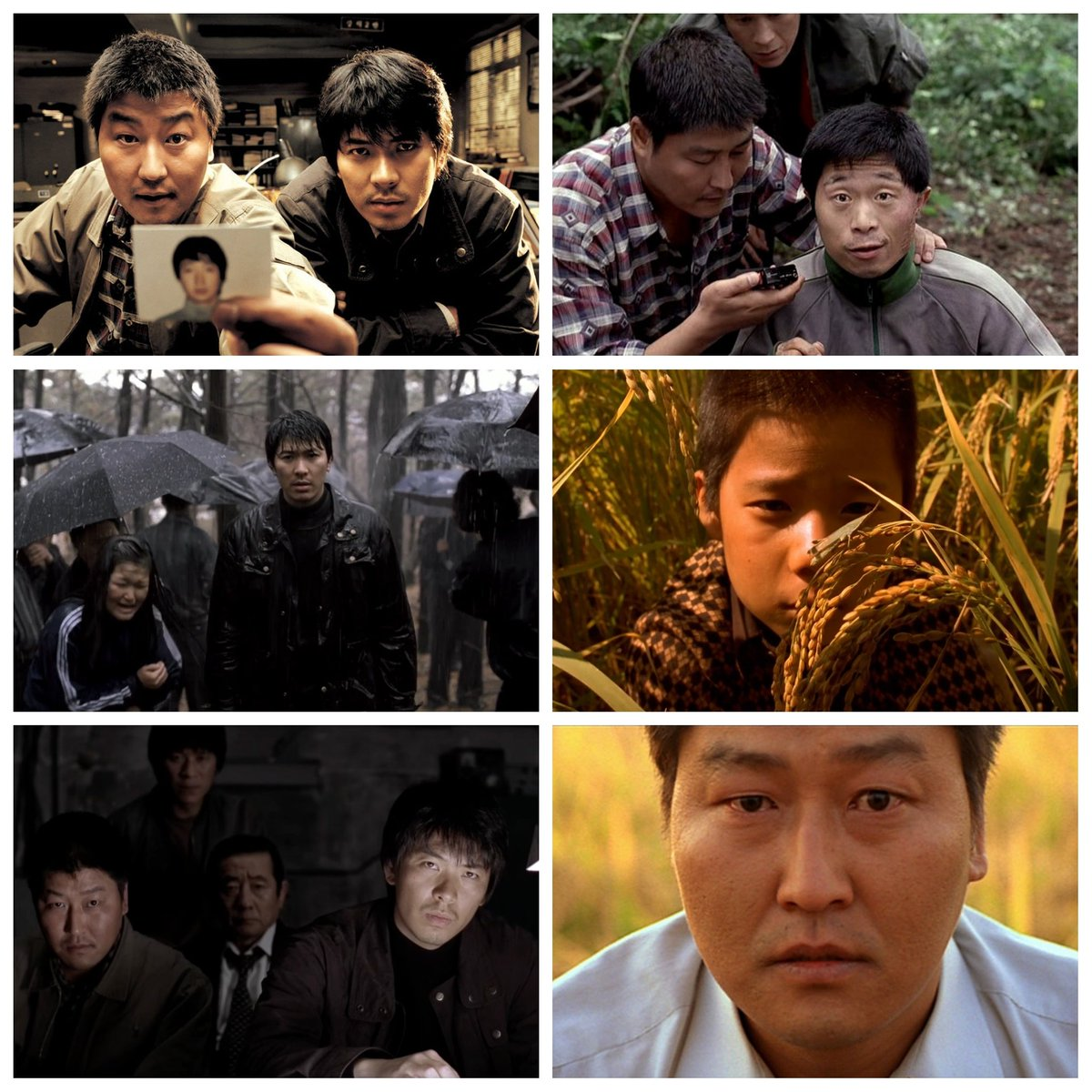 """CinemaGrids on Twitter: """"In MEMORIES OF MURDER (2003), actors look at the  camera repeatedly, including in the film's final frame (bottom right).  Director Bong Joon-ho did this to communicate to the real"""